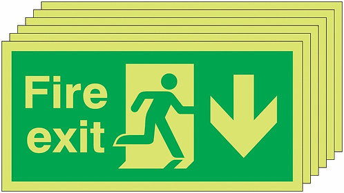 150x300 6 pack 150x300 Fire Exit Running Man Arrow Down - Nite Glo Rigid