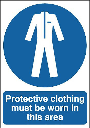 210x148mm Protective Clothing Must Be Worn In this Area - Rigid