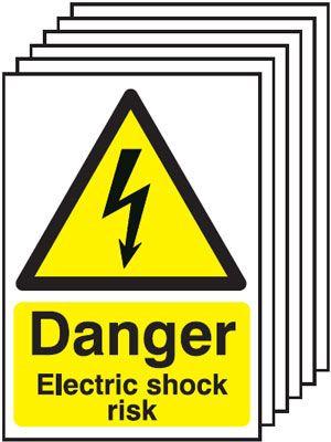 210x148mm Danger Electric Shock Risk - Rigid Pk of 6