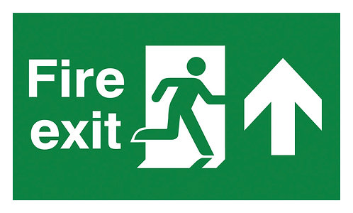 150x300mm Fire Exit Running Man Arrow Up - Polycarbonate