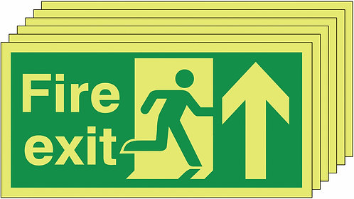 150x300 6 pack Fire Exit Running Man Arrow Up - Nite Glo Rigid