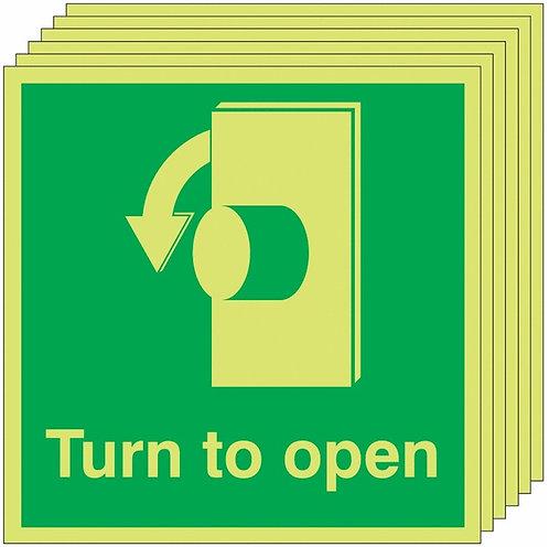 150x150 6 pack Turn To Open Anti-Clockwise - Nite Glo Self Adhesive