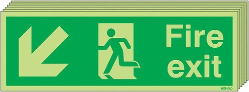 150x450 6 pack 150x450 Fire Exit Running Man Arrow Down Left - Nite Glo Rigid