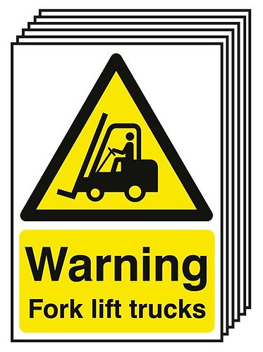 210x148mm Warning Forklift Trucks - Rigid Pk of 6