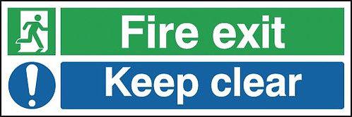 150x300mm Fire Exit Keep Clear - Rigid