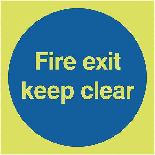 150x150mm Fire Exit Keep Clear - Nite Glo Rigid
