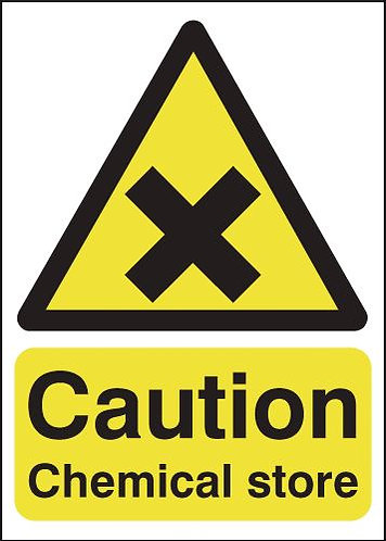 210x148mm Caution Chemical Store - Self Adhesive