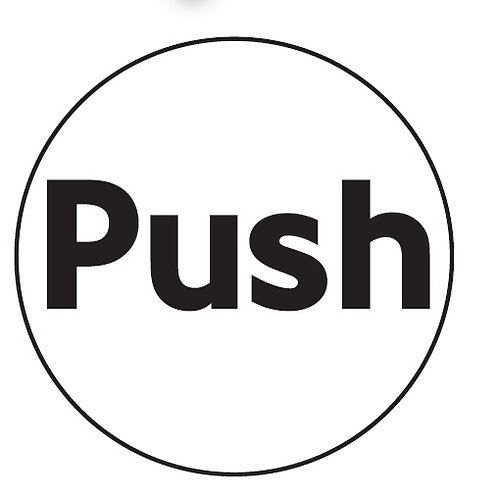 100mm dia Push - Black on silver