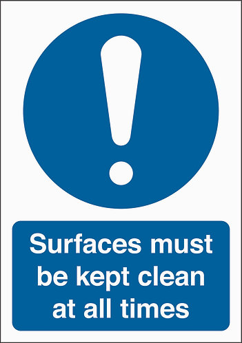 210x148mm Surfaces must be kept clean at all times - Rigid