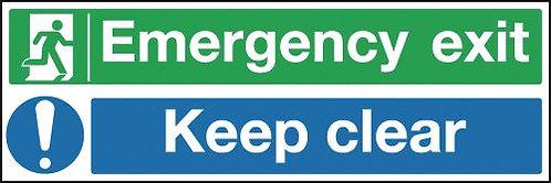 150x450mm Emergency Exit Keep Clear - Self Adhesive