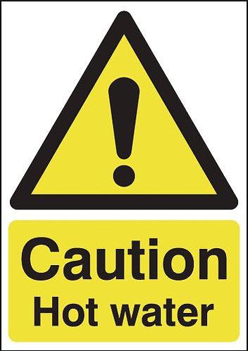 210x148mm Caution Hot Water - Rigid
