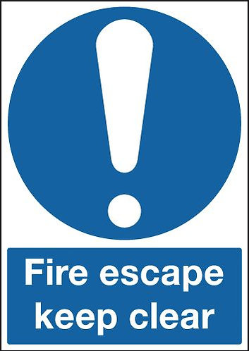 210x148mm Fire Escape Keep Clear - Self Adhesive