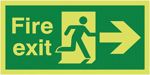 150x300mm Fire Exit Running Man Arrow Right - Nite Glo Rigid