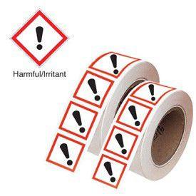 100x100mm Harmful/Irritant GHS Symbols on a roll