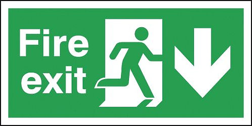 150x300mm Fire Exit Running Man Arrow Down - Polycarbonate
