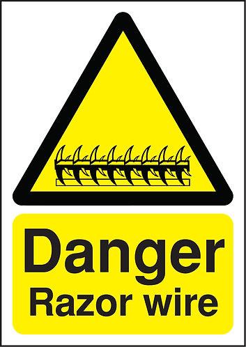 210x148mm Danger Razor Wire - Rigid