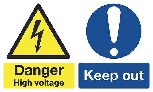 150x300mm Danger High Voltage - Self Adhesive