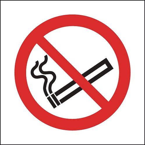 100x100mm No Smoking Symbol Only- Rigid