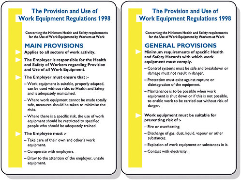 120x80mm The Provision and Use of Work Equipment Regulations 1998 Pocket Guide