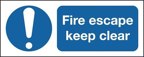 100x250mm Fire Escape Keep Clear - Rigid