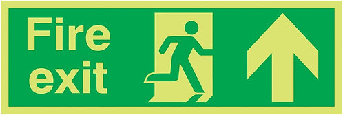 150x450mm Fire Exit Running Man Arrow Up - Xtra Glo Self Adhesive