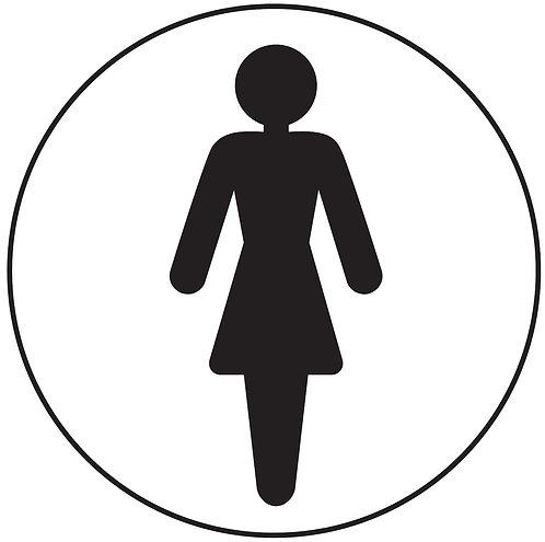 100mm dia Ladies symbol - Black on white