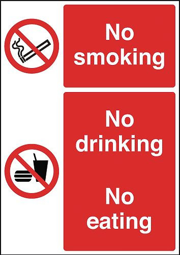 210x148mm No Smoking No Drinking No Eating- Rigid