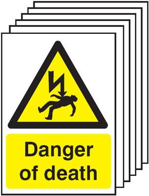 210x148mm Danger of Death - Rigid Pk of 6