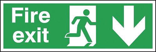 150x300mm Fire Exit Running Man Arrow Down - Aluminium