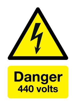 210x148mm Danger 440 Volts - Rigid