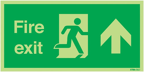 150x300mm Fire Exit Running Man Arrow Up - Xtra Glo Self Adhesive