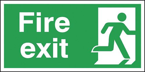 150x300mm Fire Exit Running Man Right - Self Adhesive