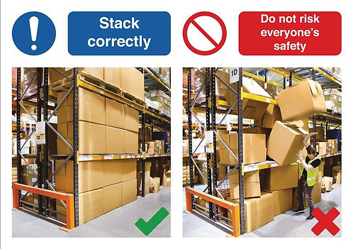 210 x 297mm Stack correctly / Do not risk everyone's safety - Self Adhesive