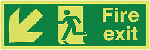 150x450mm Fire Exit Running Man Arrow Down Left - Xtra Glo Self Adhesive
