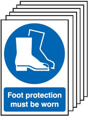 210x148mm Foot Protection Must Be Worn - Self Adhesive Pk of 6