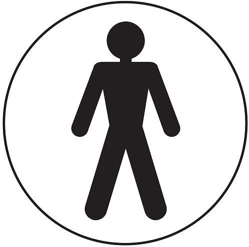 100mm dia Male symbol - Black on silver