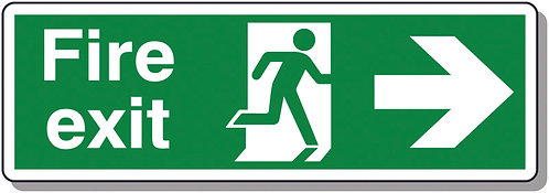 150x450mm Fire Exit Running Man Arrow Right - Polycarbonate