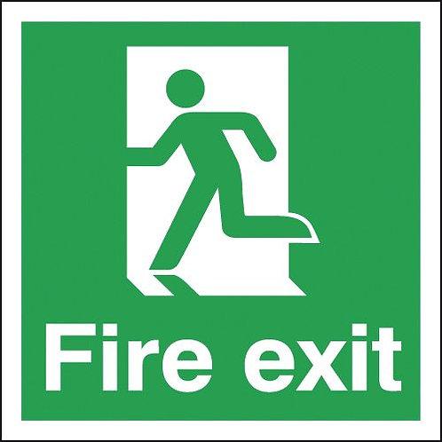 150x150mm Fire Exit Running Man Left - Rigid