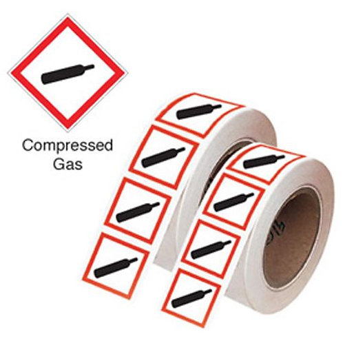 100x100mm Compressed Gas GHS Symbols on a roll