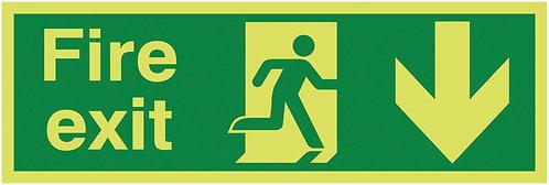 150x450mm Fire Exit Running Man Arrow Down - Nite Glo Self Adhesive