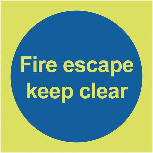 100x100mm Fire Escape Keep Clear - Nite Glo Self Adhesive