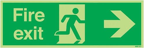 150x450mm Fire Exit Running Man Arrow Right - Nite Glo Rigid