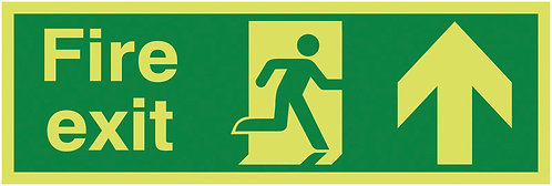150x450mm Fire Exit Running Man Arrow Up - Nite Glo Self Adhesive