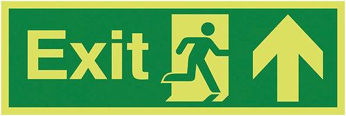 150x450mm Exit Running Man Arrow Up - Nite Glo Rigid