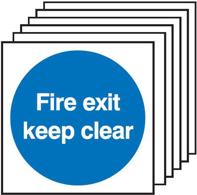 150x150mm Fire Exit Keep Clear - Self Adhesive Pk of 6