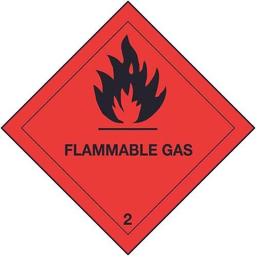 100x100mm Flammable Gas Hazard Warning Diamond Roll of 310