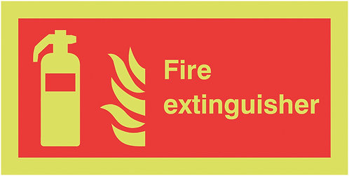 100x200mm Fire Extinguisher - Nite Glo Self Adhesive