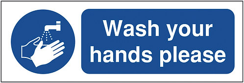 100x250mm Wash Your Hands Please - Rigid