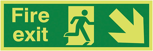 150x450mm Fire Exit Running Man Arrow Down Right - Nite Glo Self Adhesive