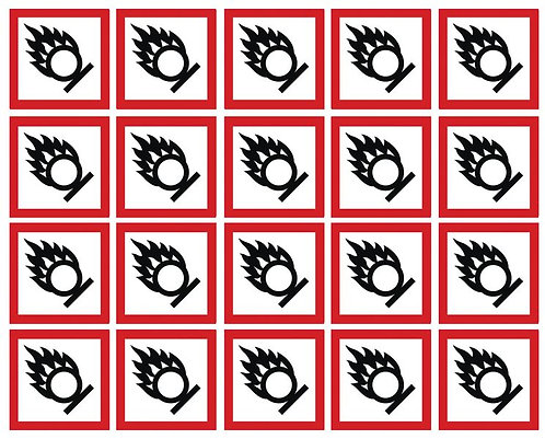 100x100mm Oxidising GHS Symbols 6 labels on a sheet